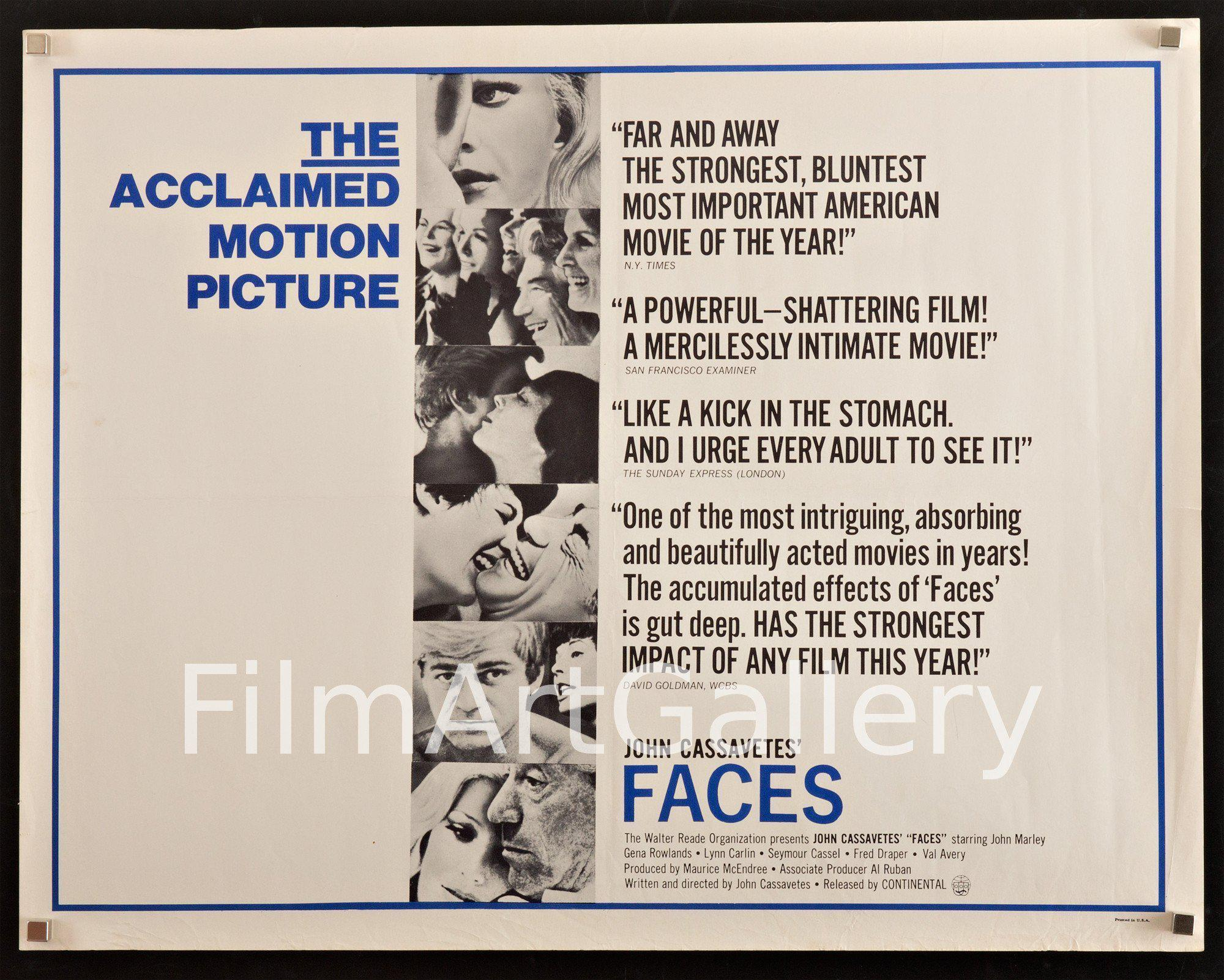 Faces Half sheet (22x28) Original Vintage Movie Poster