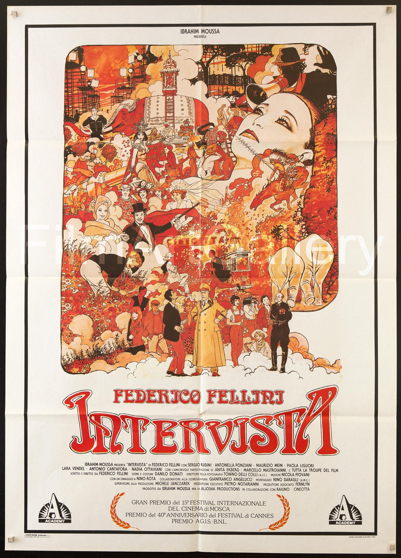Fellini's Intervista Italian 2 foglio (39x55) Original Vintage Movie Poster