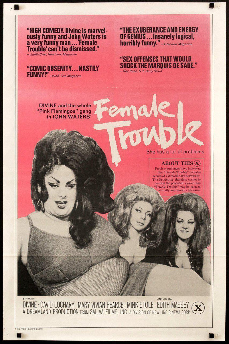 Female Trouble 1 Sheet (27x41) Original Vintage Movie Poster