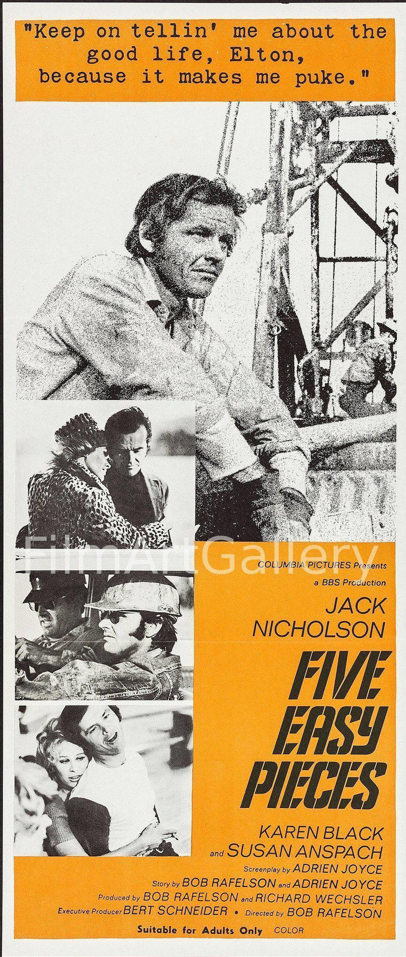 Five Easy Pieces Australian Daybill (13x30) Original Vintage Movie Poster