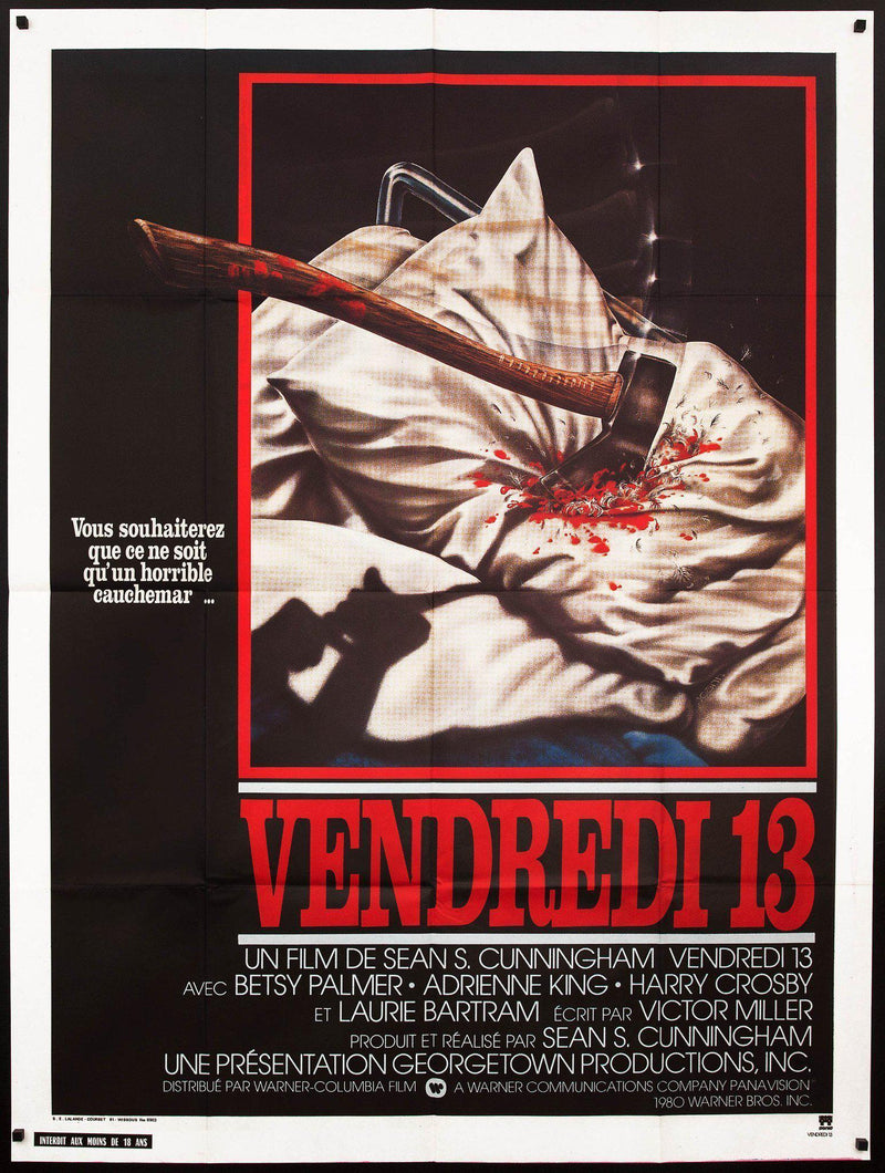 Friday the 13th French 1 Panel (47x63) Original Vintage Movie Poster
