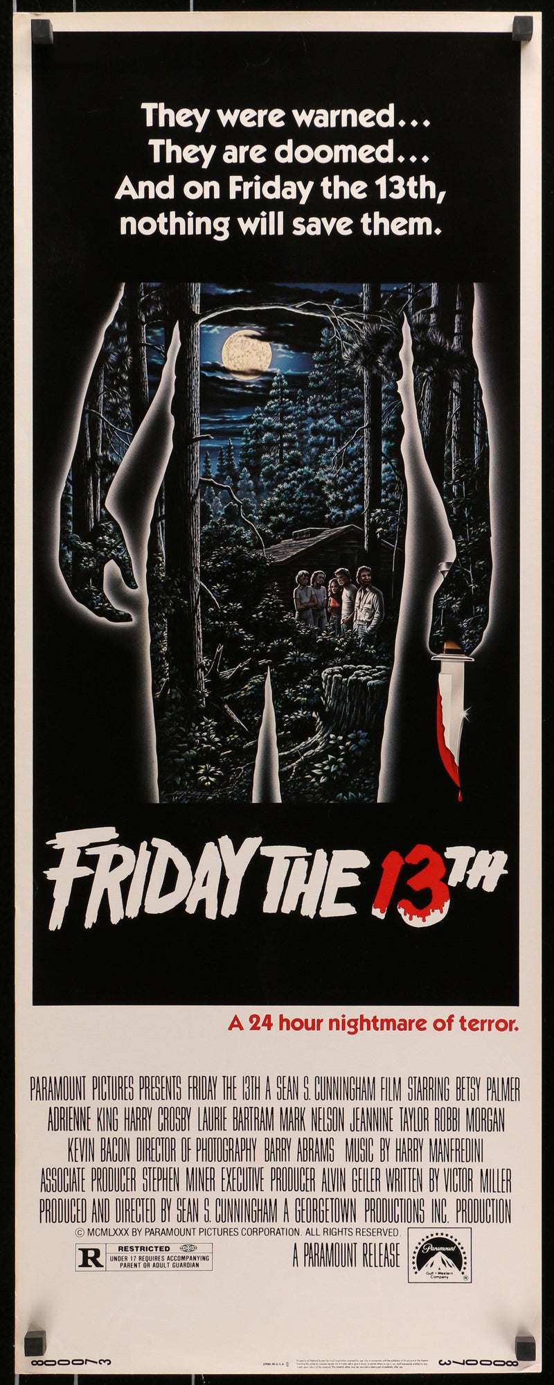 Friday the 13th Insert (14x36) Original Vintage Movie Poster