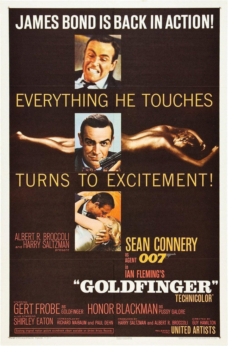 Goldfinger 1 Sheet (27x41) Original Vintage Movie Poster