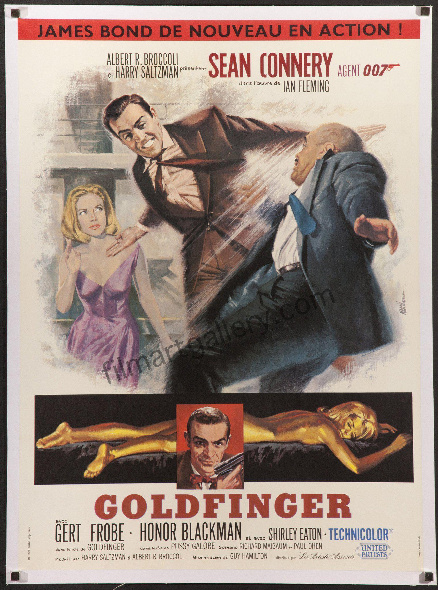 Goldfinger French small (23x32) Original Vintage Movie Poster