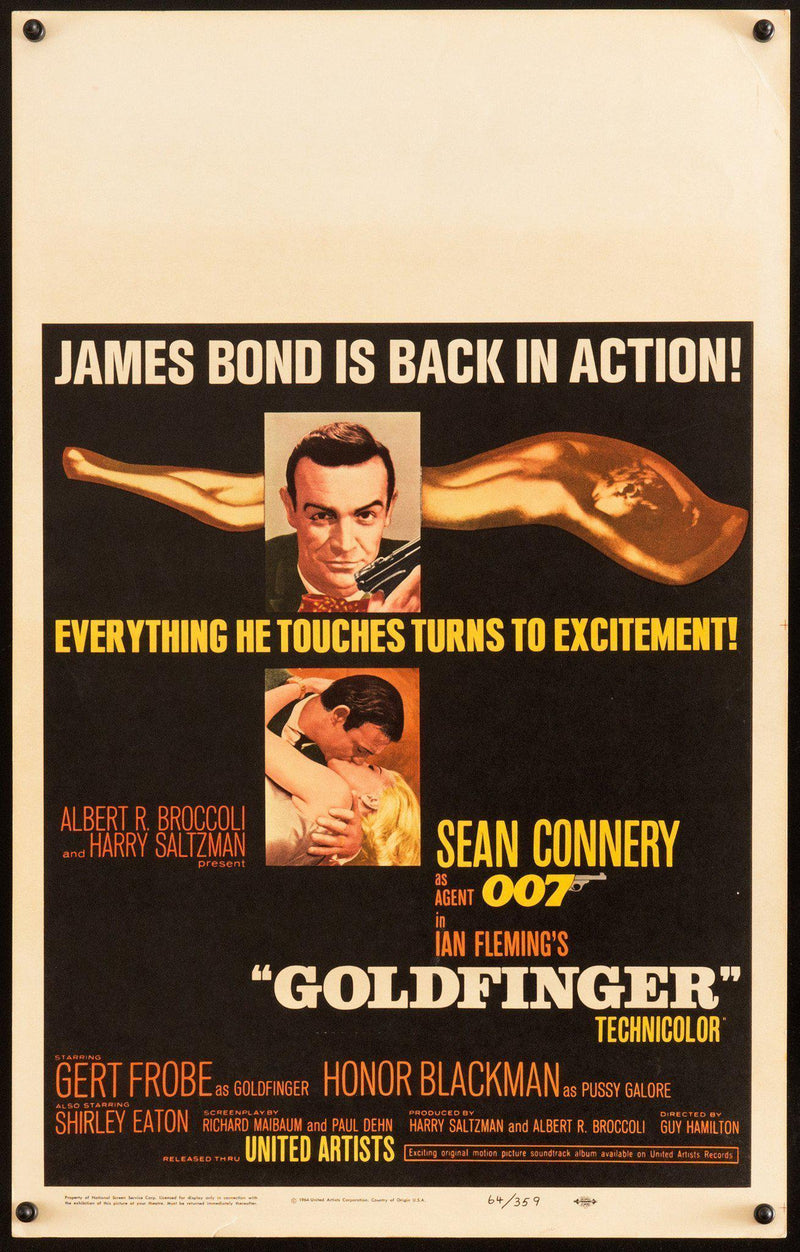 Goldfinger Window Card (14x22) Original Vintage Movie Poster