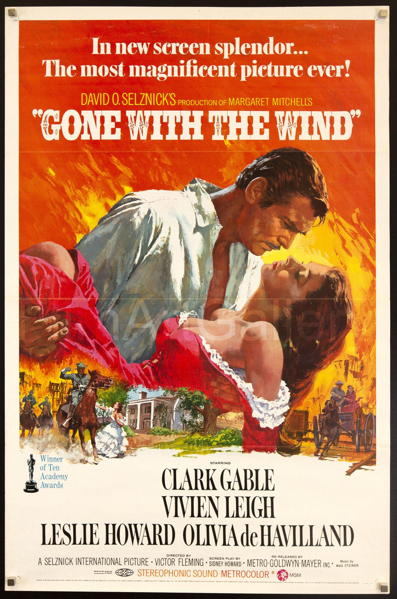 Gone With the Wind 1 Sheet (27x41) Original Vintage Movie Poster
