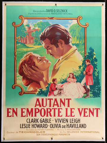 Gone With the Wind French 1 Panel (47x63) Original Vintage Movie Poster