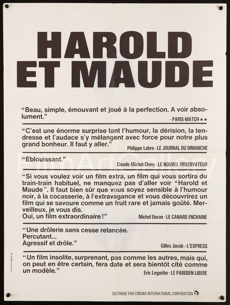 Harold and Maude French Small (23x32) Original Vintage Movie Poster