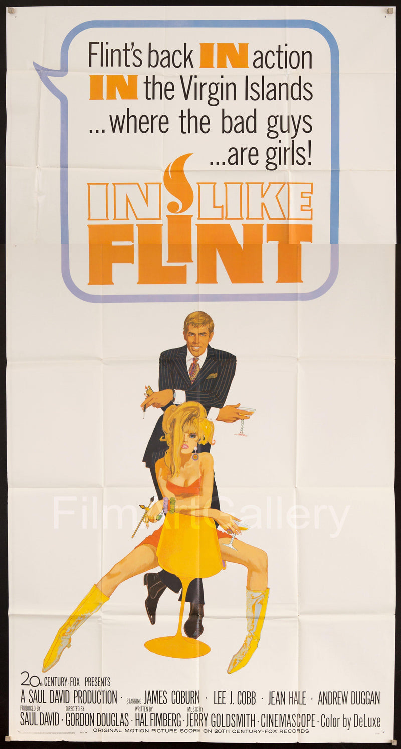 In Like Flint 3 Sheet (41x81) Original Vintage Movie Poster