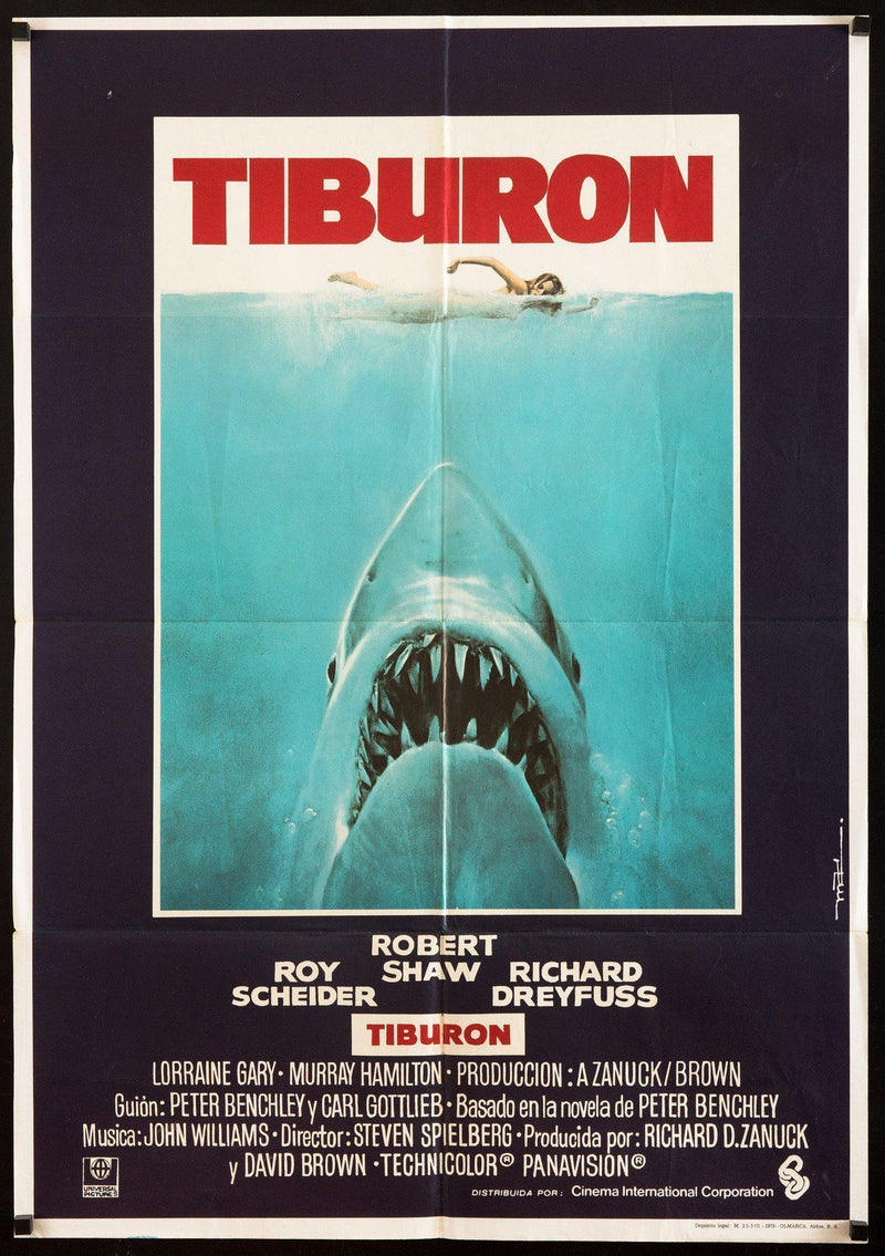 Jaws (Tiburon) 1 Sheet (27x41) Original Vintage Movie Poster