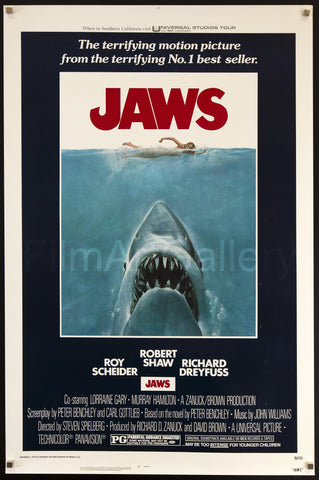 Jaws 1 Sheet (27x41) Original Vintage Movie Poster