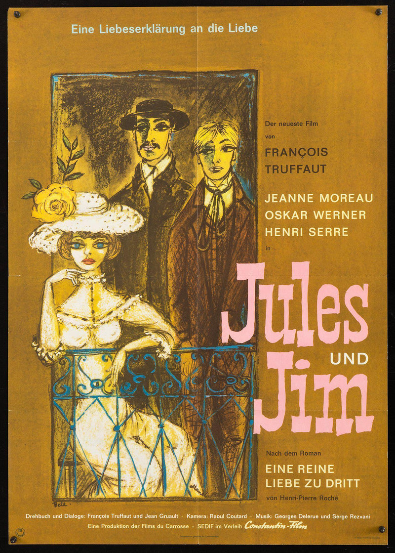 Jules & Jim German A1 (23x33) Original Vintage Movie Poster