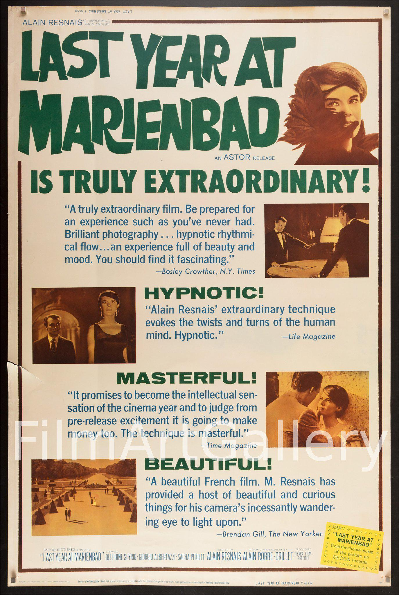 Last Year at Marienbad 40x60 Original Vintage Movie Poster