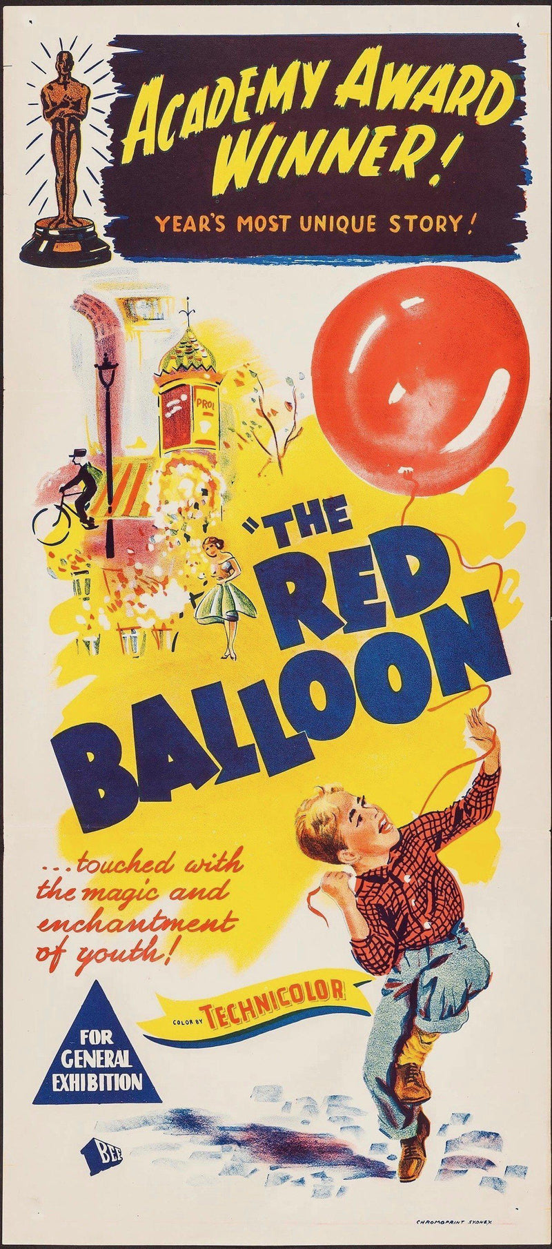 Le Ballon Rouge (The Red Balloon) Australian Daybill (13x30) Original Vintage Movie Poster