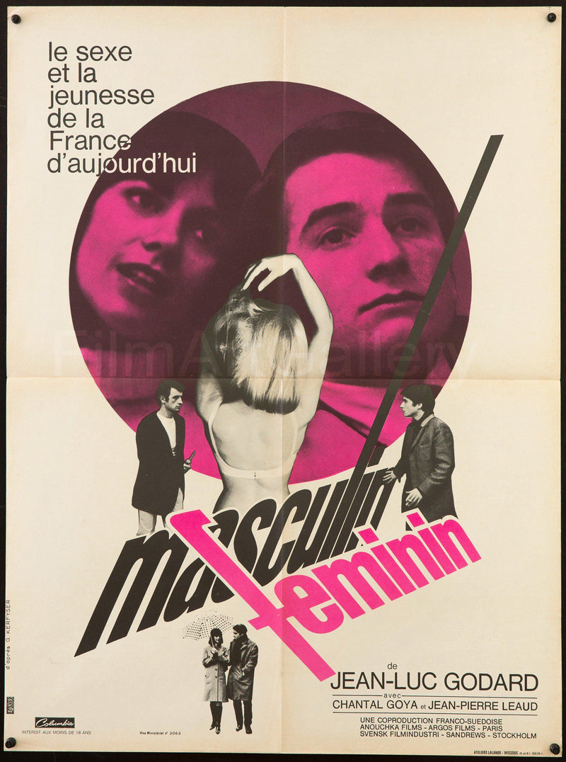 Masculin Feminin French small (23x32) Original Vintage Movie Poster