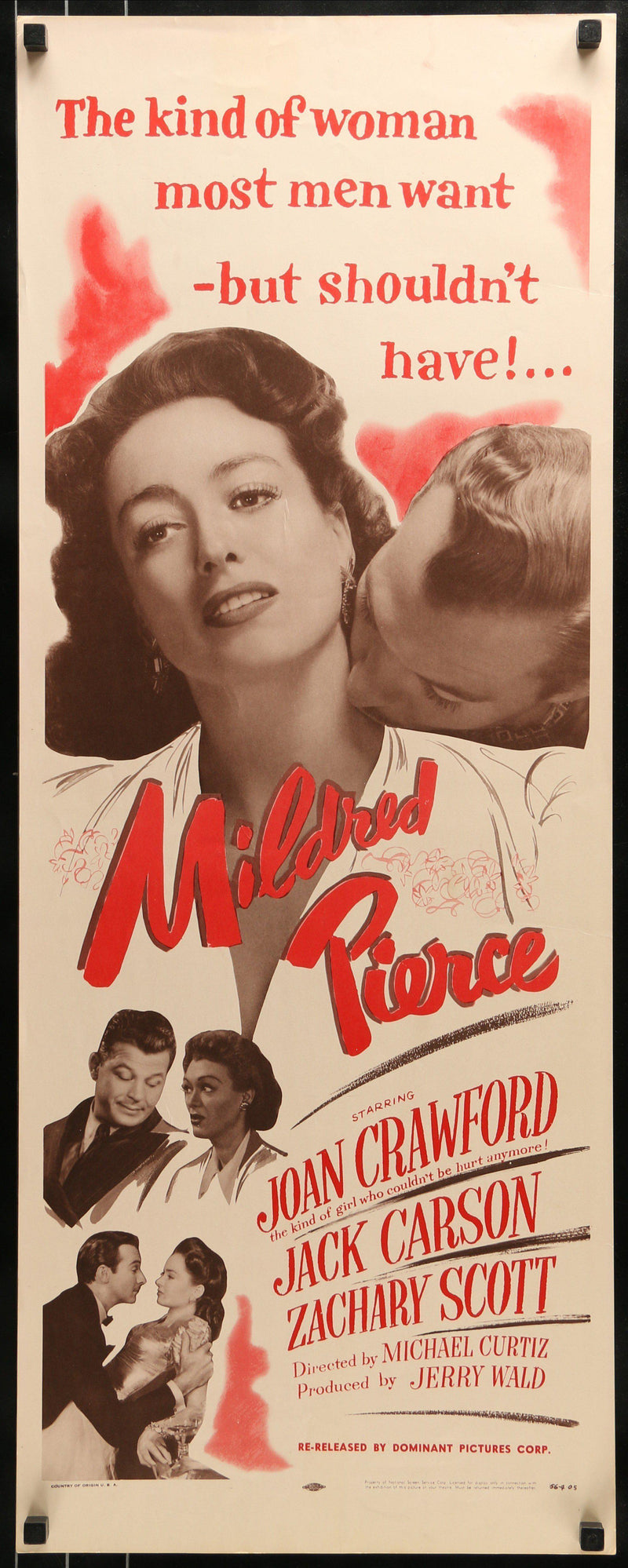 Mildred Pierce Insert 14x36 Original Vintage Movie Poster