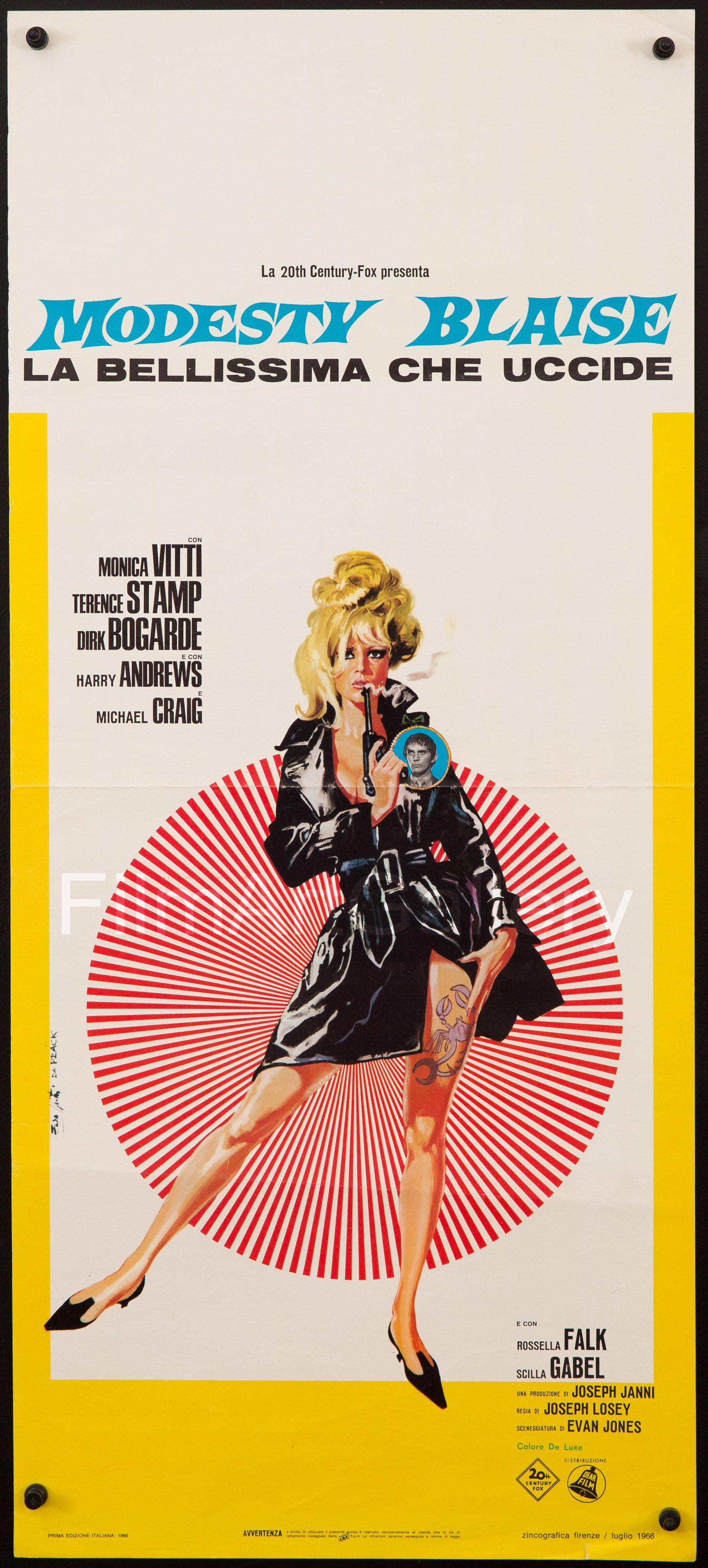 Modesty Blaise Italian Locandina (13x28) Original Vintage Movie Poster