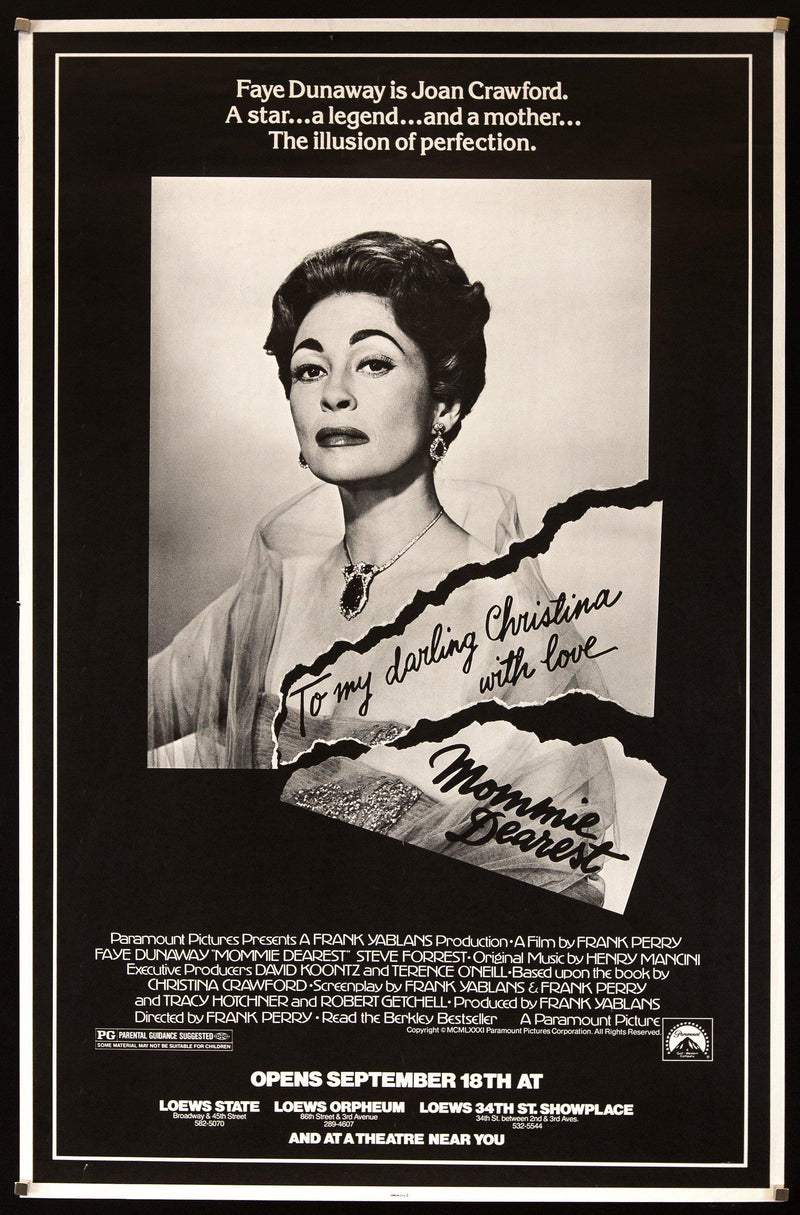 Mommie Dearest Subway 1 sheet (29x45) Original Vintage Movie Poster