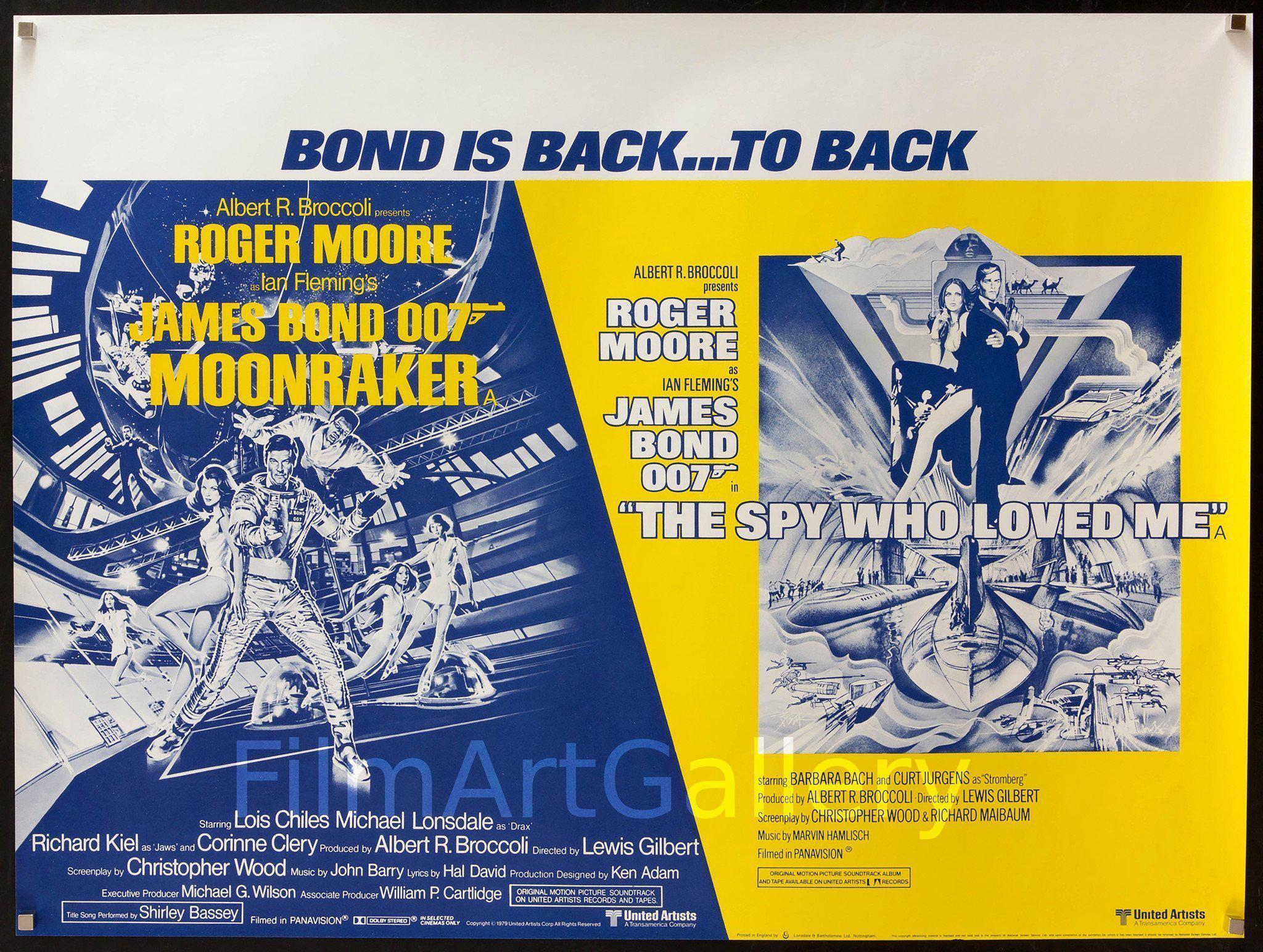 Moonraker & The Spy Who Loved Me British Quad (30x40) Original Vintage Movie Poster