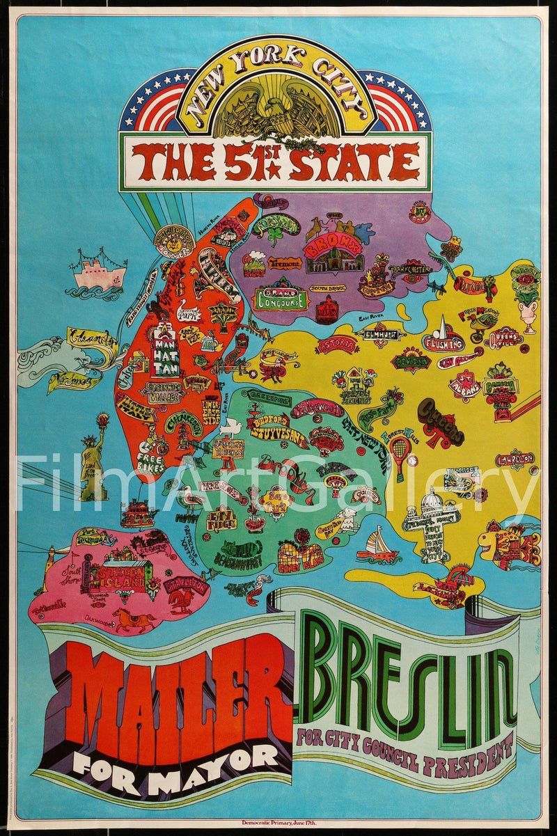 New York City The 51st State/Norman Mailer for mayor 24x36 Original Vintage Movie Poster
