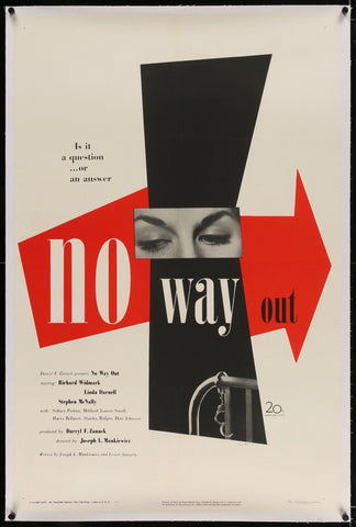 No Way Out 1 Sheet (27x41) Original Vintage Movie Poster
