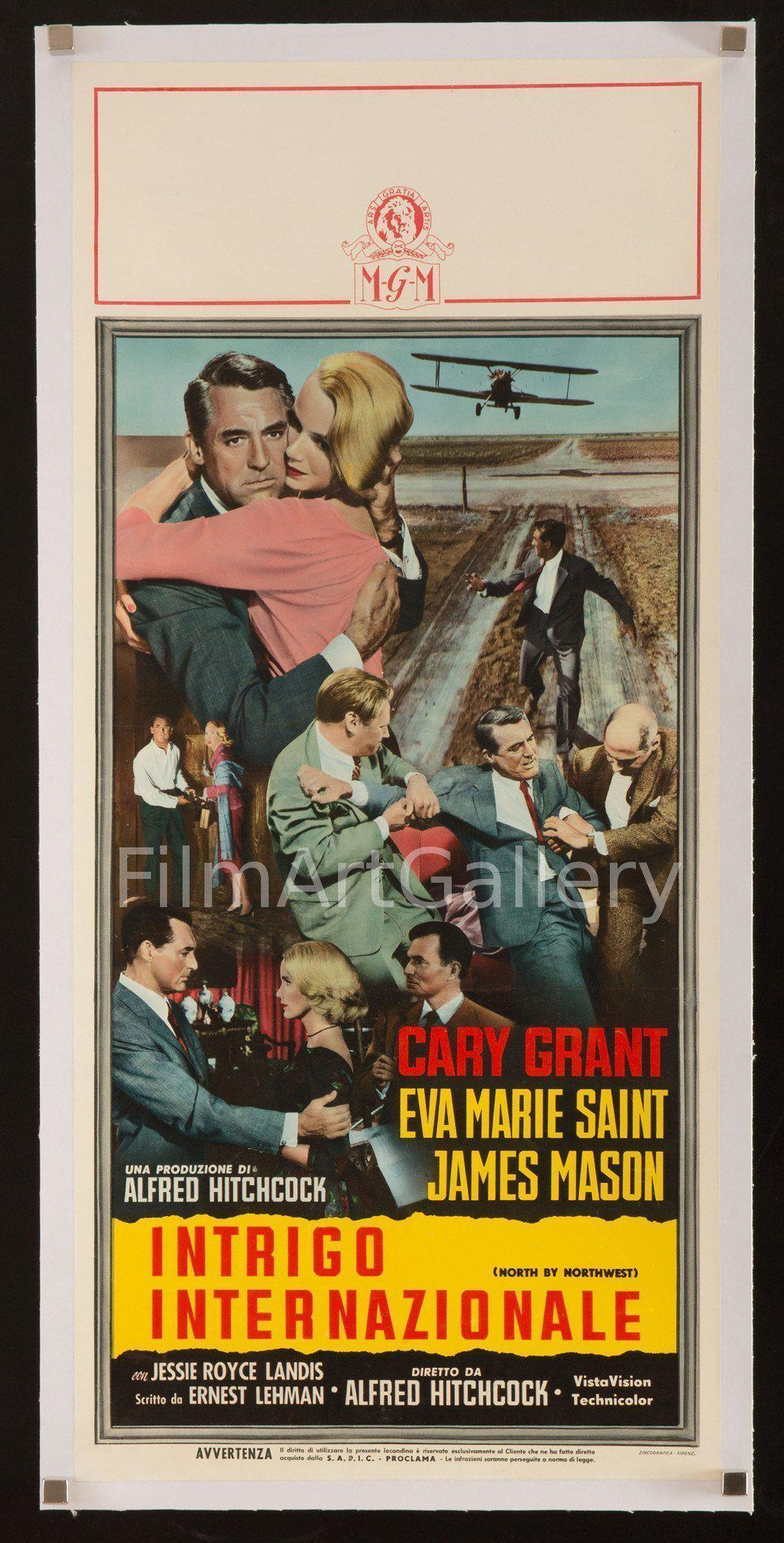 North By Northwest Italian Locandina (13x28) Original Vintage Movie Poster