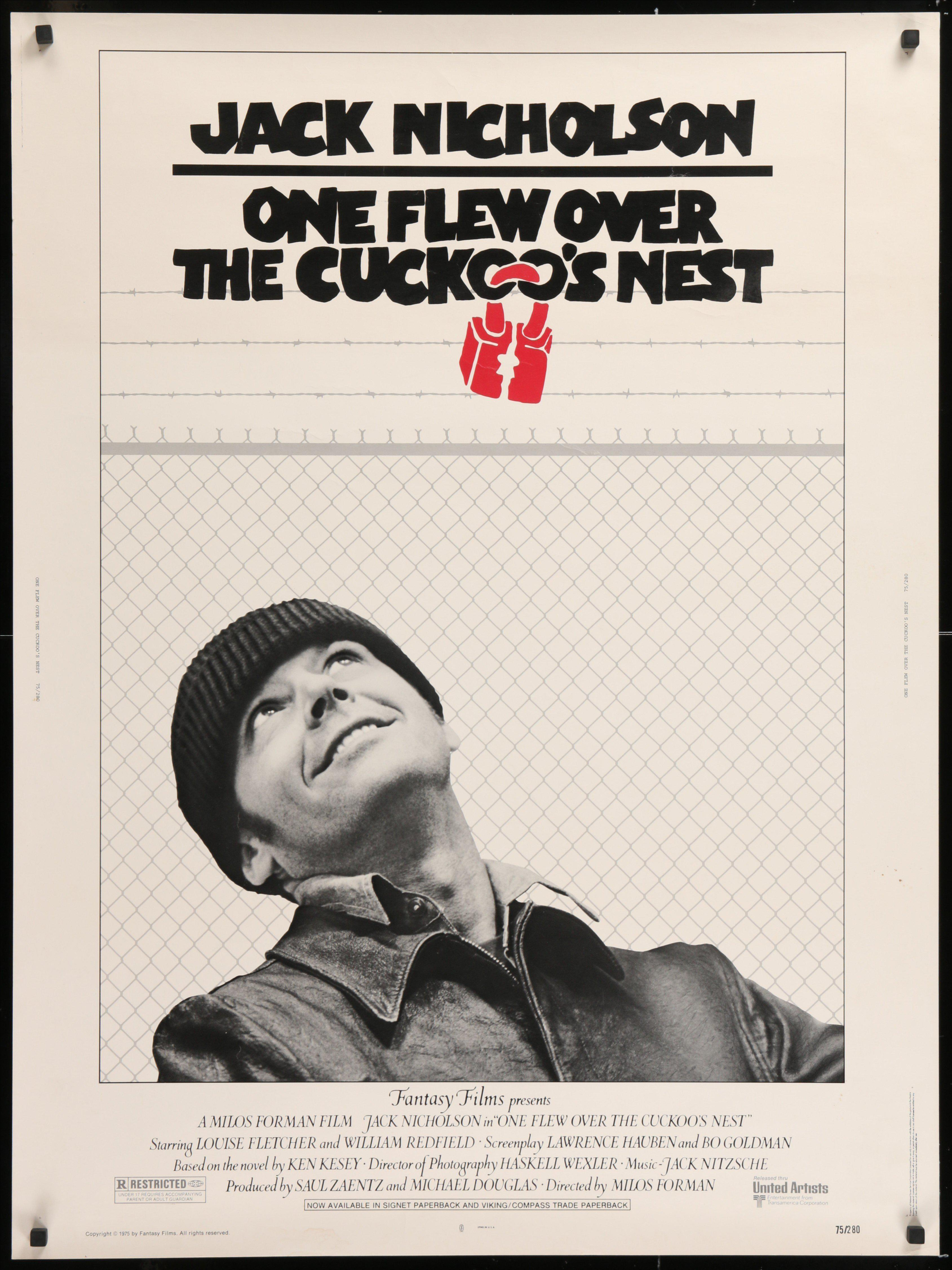One Flew Over the Cuckoo's Nest 30x40 Original Vintage Movie Poster
