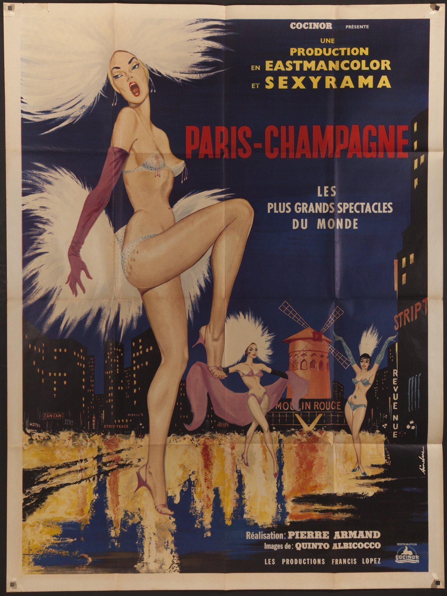Paris Champagne French 1 panel (47x63) Original Vintage Movie Poster