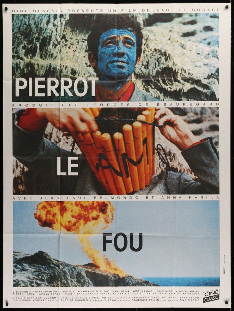 Pierrot Le Fou French 1 panel (47x63) Original Vintage Movie Poster