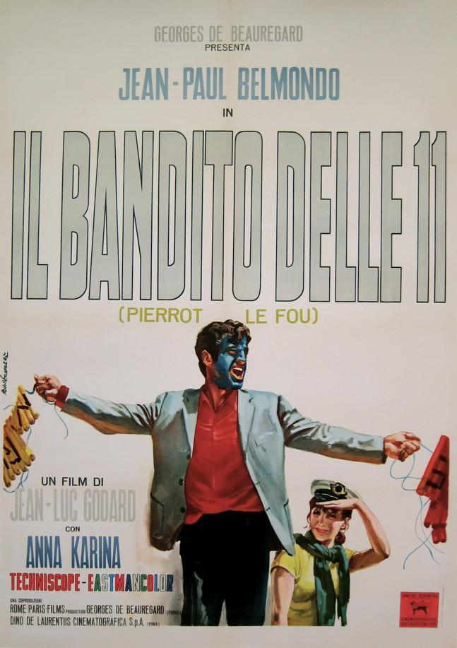 Pierrot Le Fou Italian 2 foglio (39x55) Original Vintage Movie Poster