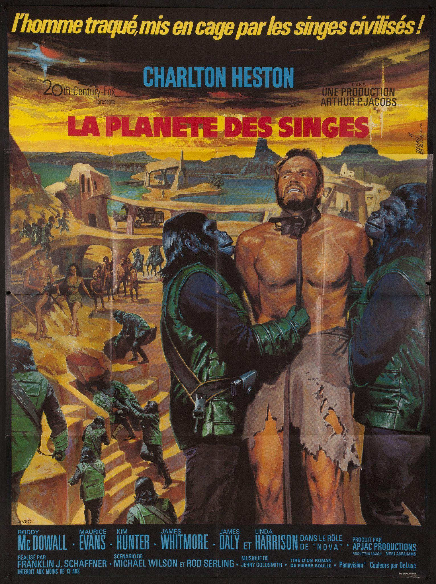 Planet of the Apes French 1 panel (47x63) Original Vintage Movie Poster
