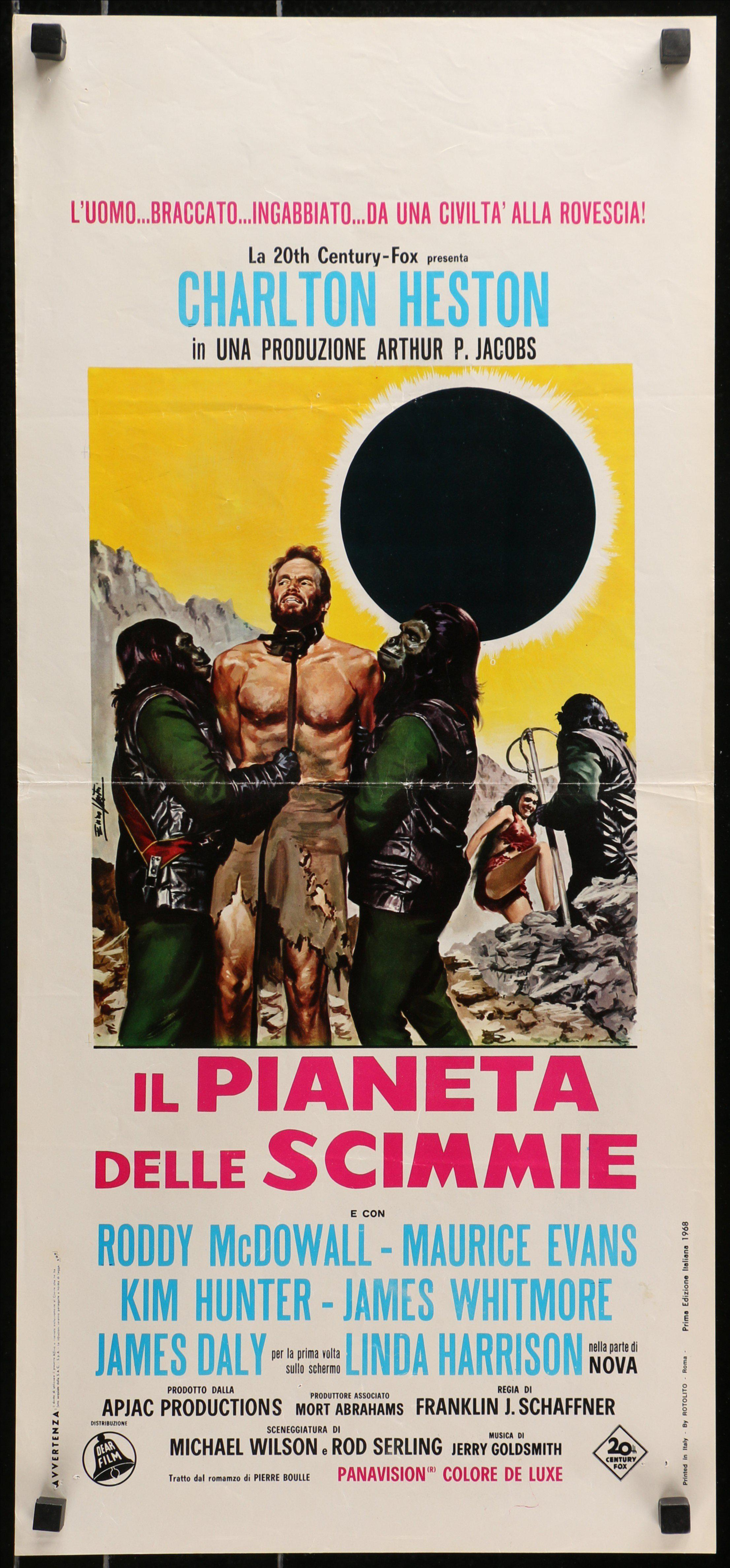 Planet of the Apes Italian Locandina (13x28) Original Vintage Movie Poster