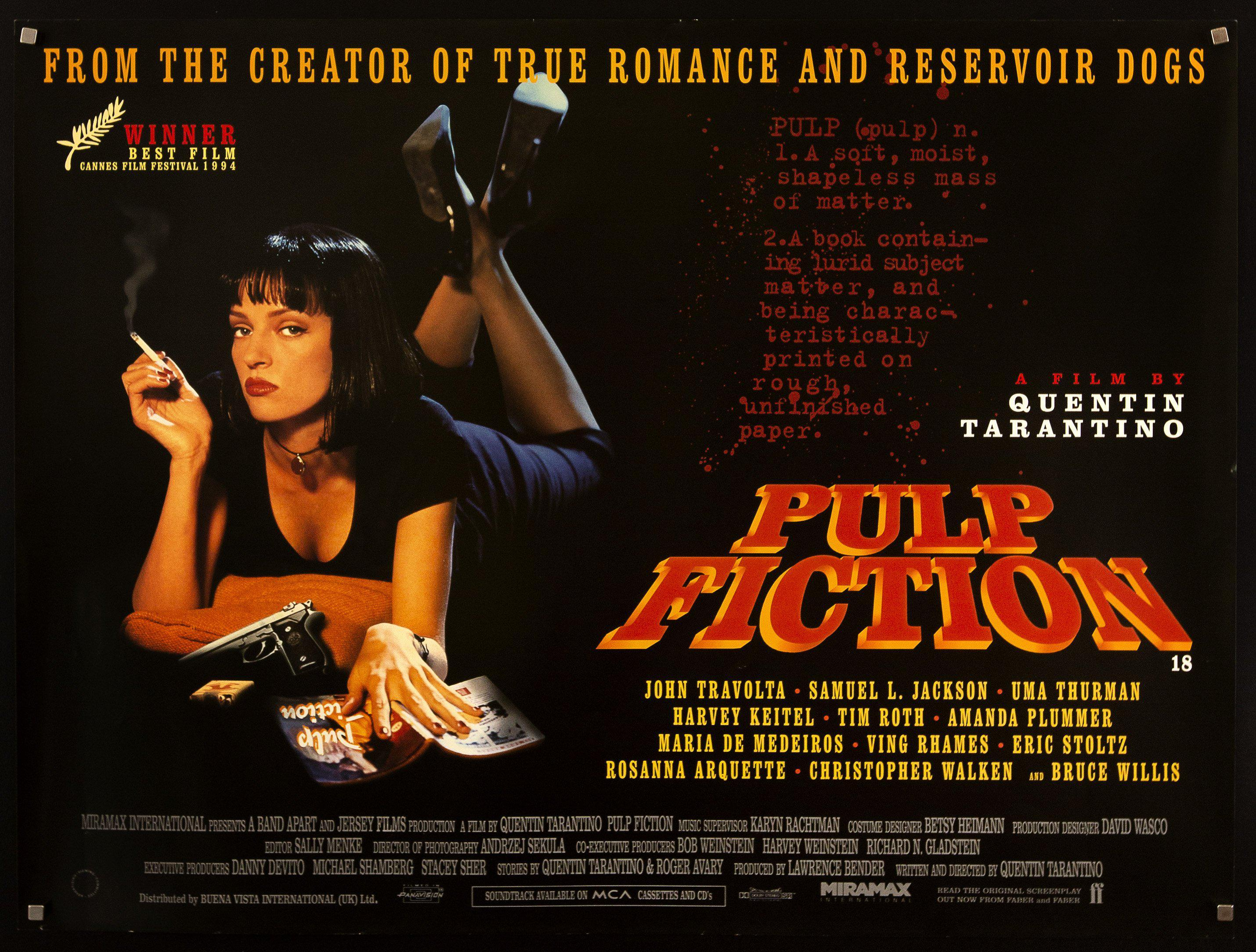 Pulp Fiction Movie Poster | British Quad (30x40) Original Vintage Movie  Poster | 6013