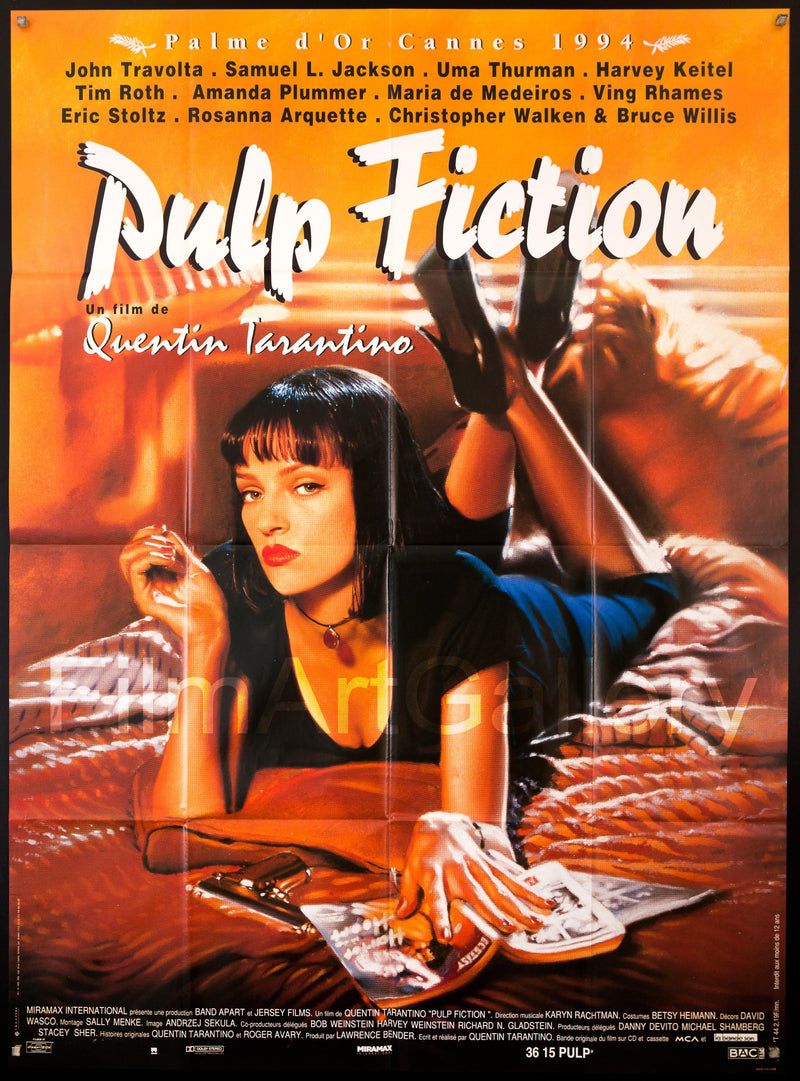 Pulp Fiction French 1 Panel (47x63) Original Vintage Movie Poster