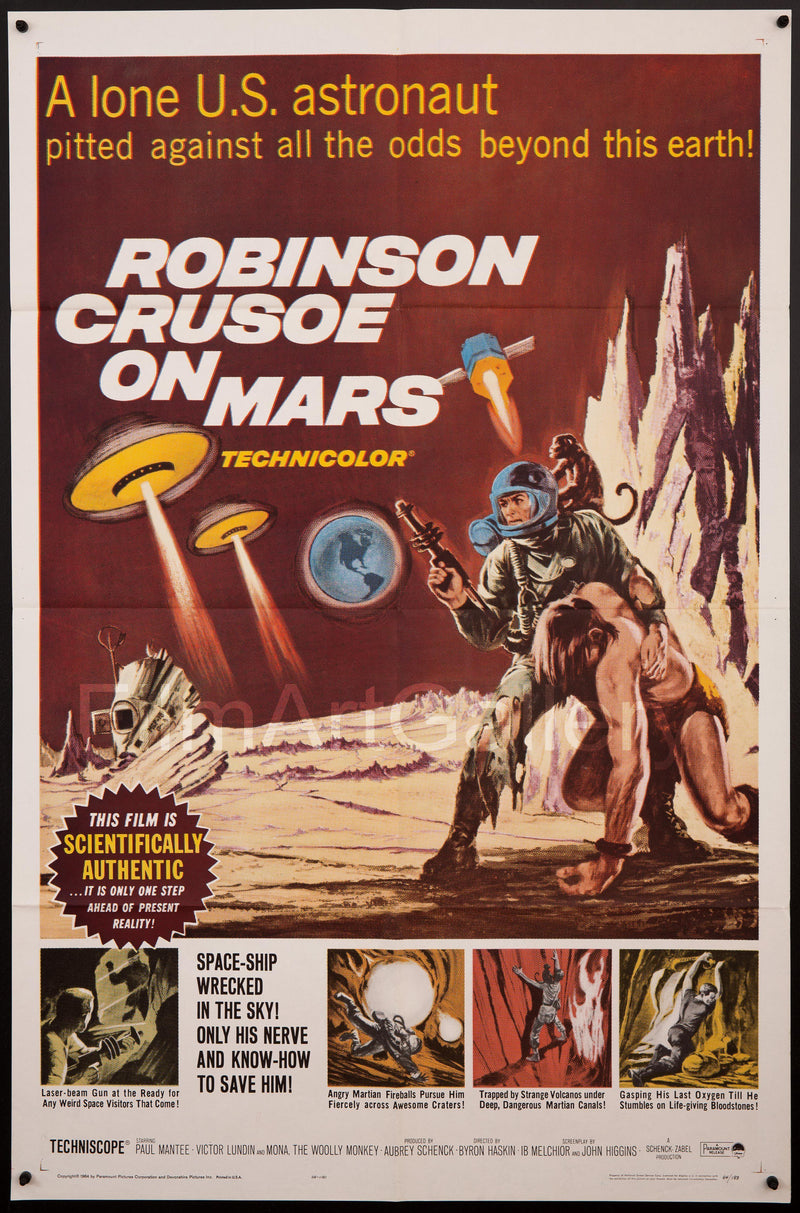 Robinson Crusoe On Mars 1 Sheet (27x41) Original Vintage Movie Poster