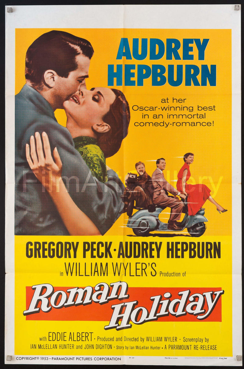 Roman Holiday 1 Sheet (27x41) Original Vintage Movie Poster