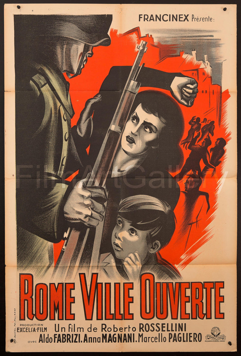 Rome Open City (Rome Citta Aperta) French Medium (31x47) Original Vintage Movie Poster