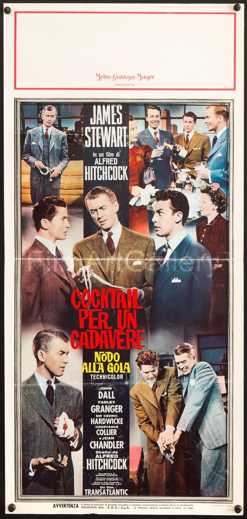 Rope Italian Locandina (13x28) Original Vintage Movie Poster