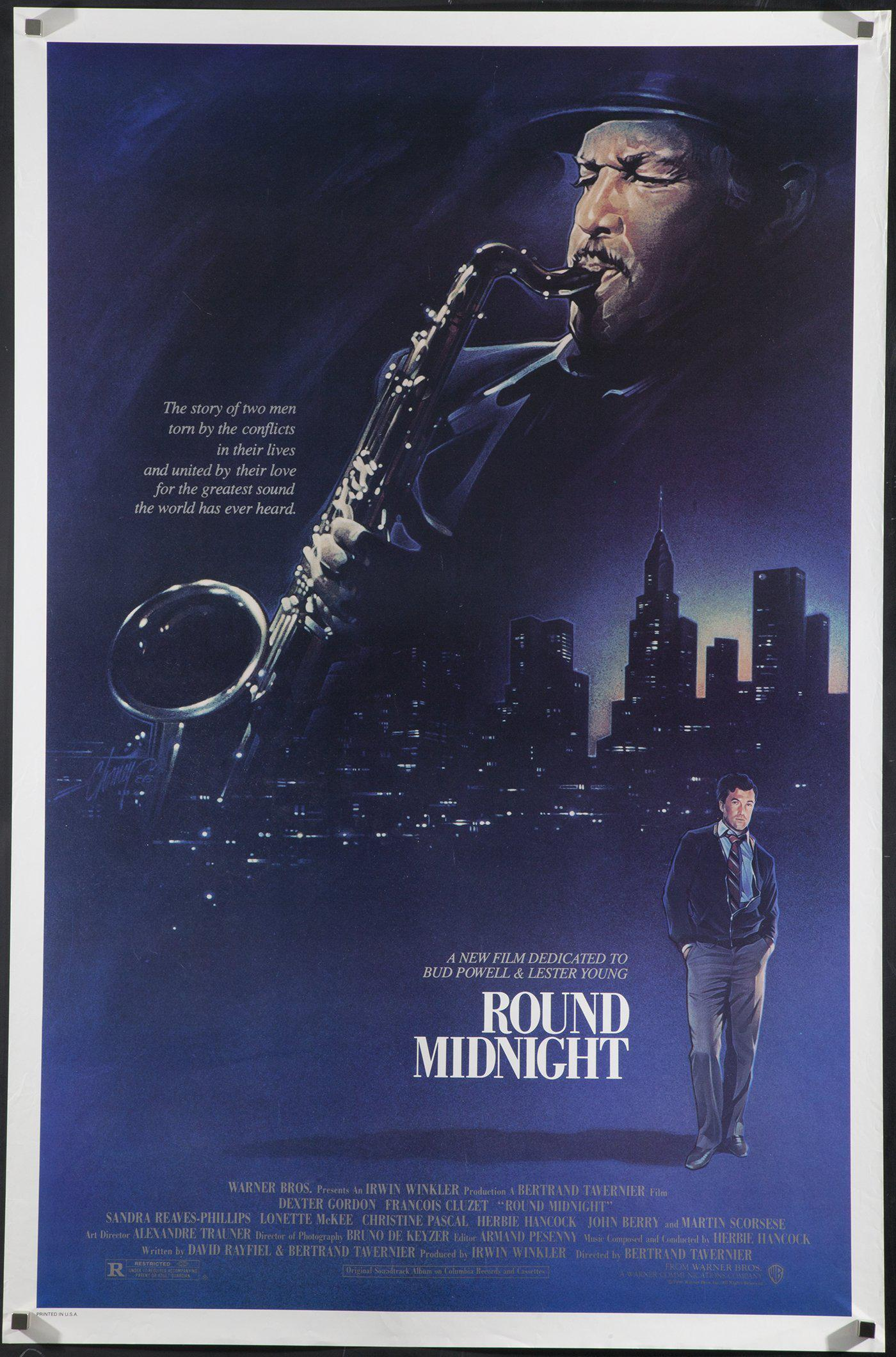 Round Midnight 1 Sheet (27x41) Original Vintage Movie Poster