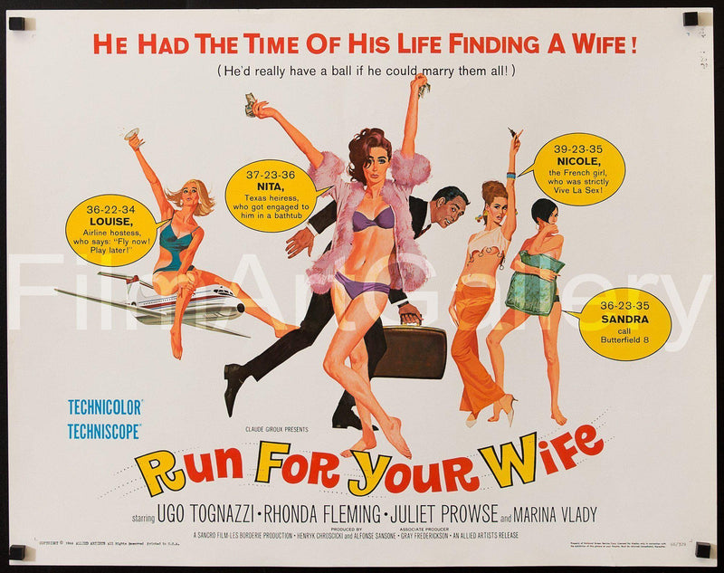Run For Your Wife Half Sheet (22x28) Original Vintage Movie Poster