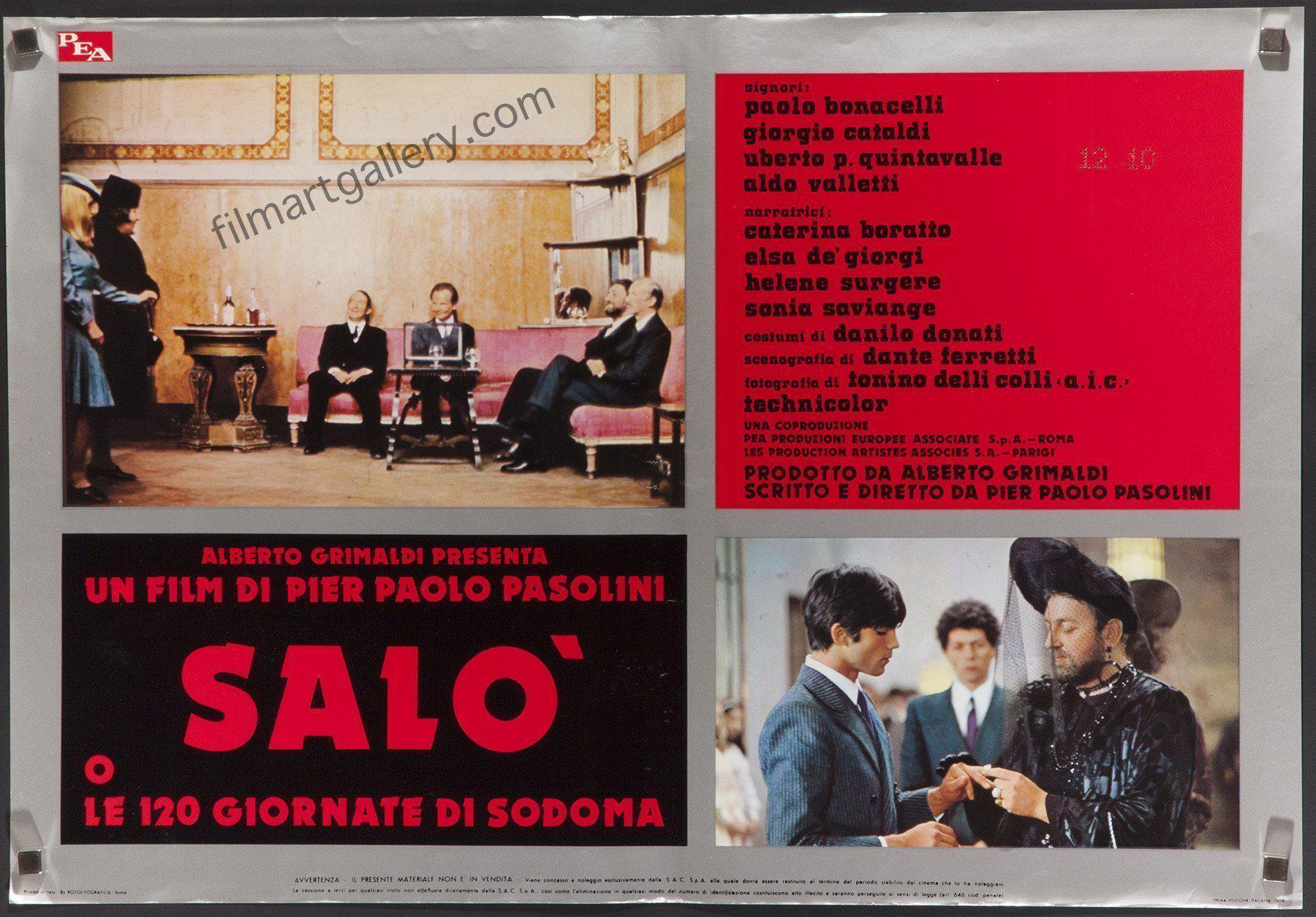 Salo Italian Photobusta (18x26) Original Vintage Movie Poster