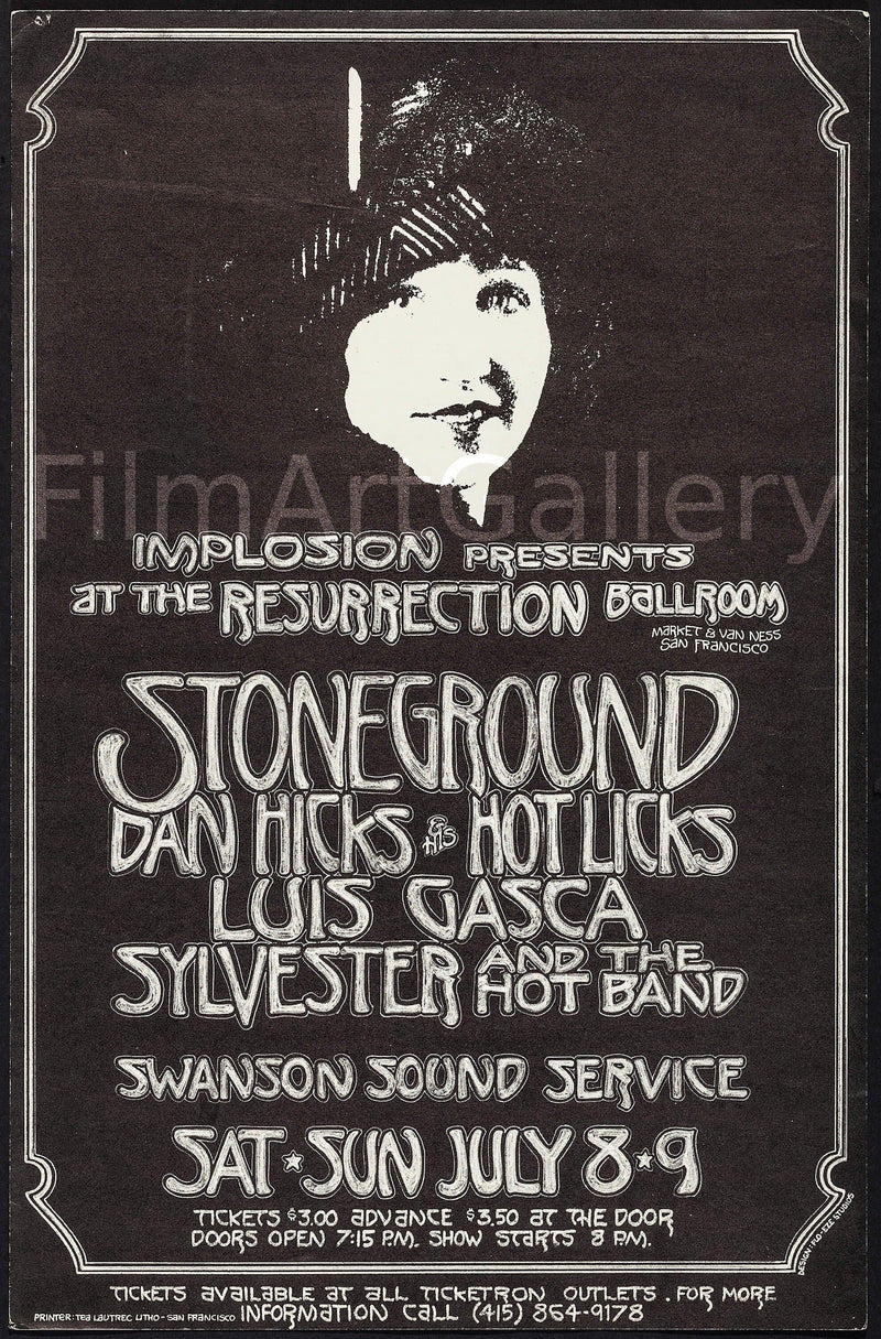 San Francisco concert featuring Sylvester and the Hot Band 14x21 Original Vintage Movie Poster