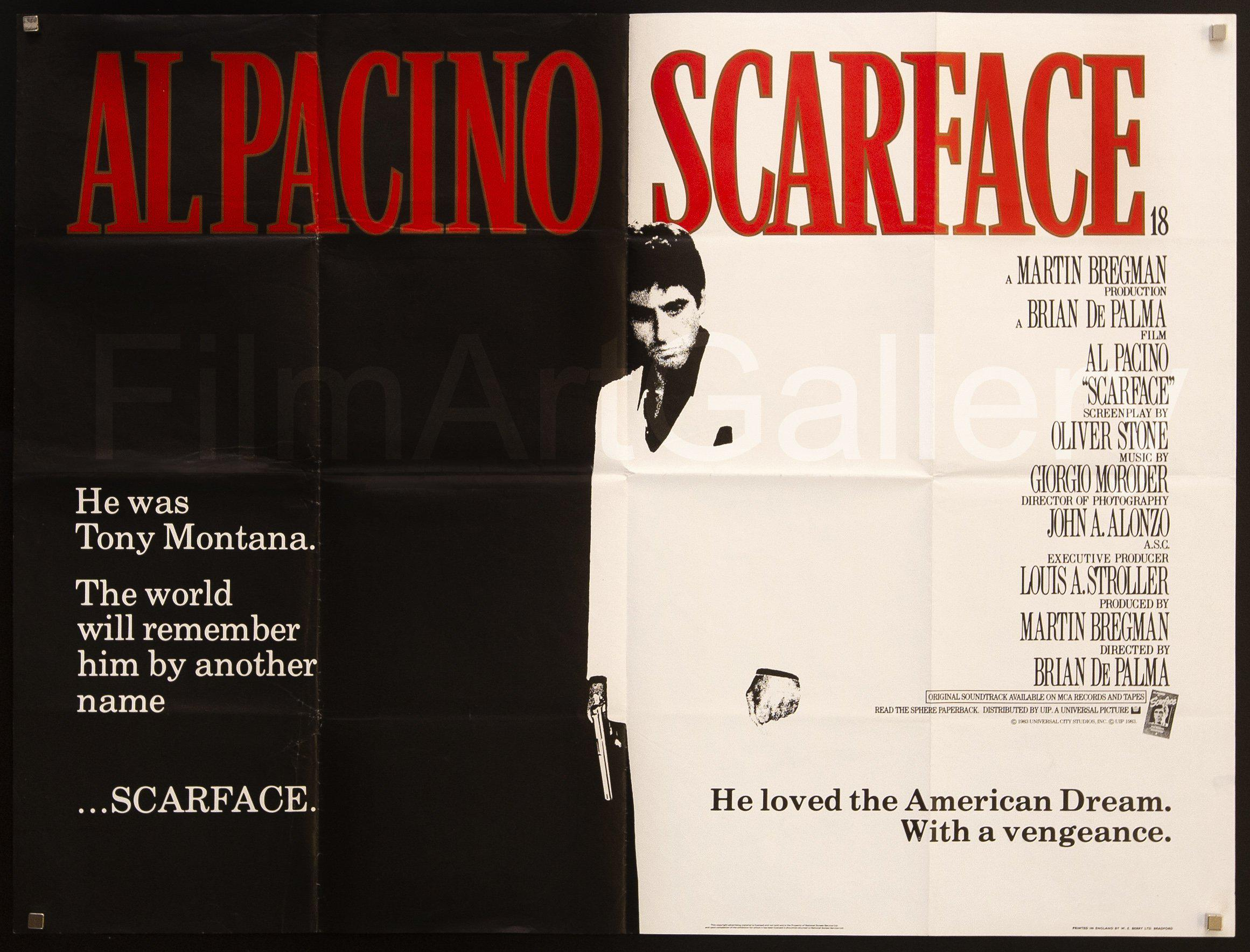 Scarface British Quad (30x40) Original Vintage Movie Poster