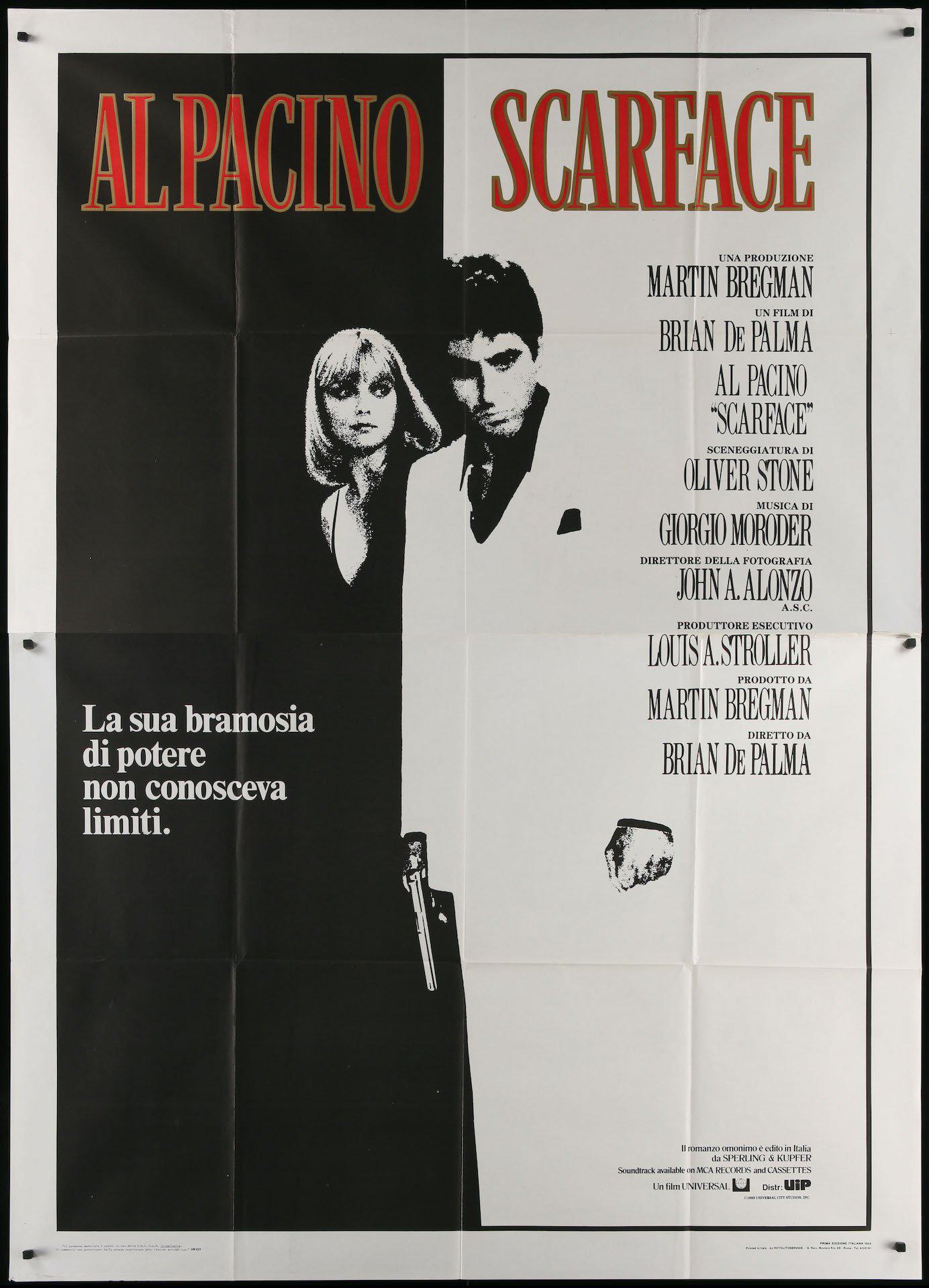 Scarface Italian 4 foglio (55x78) Original Vintage Movie Poster