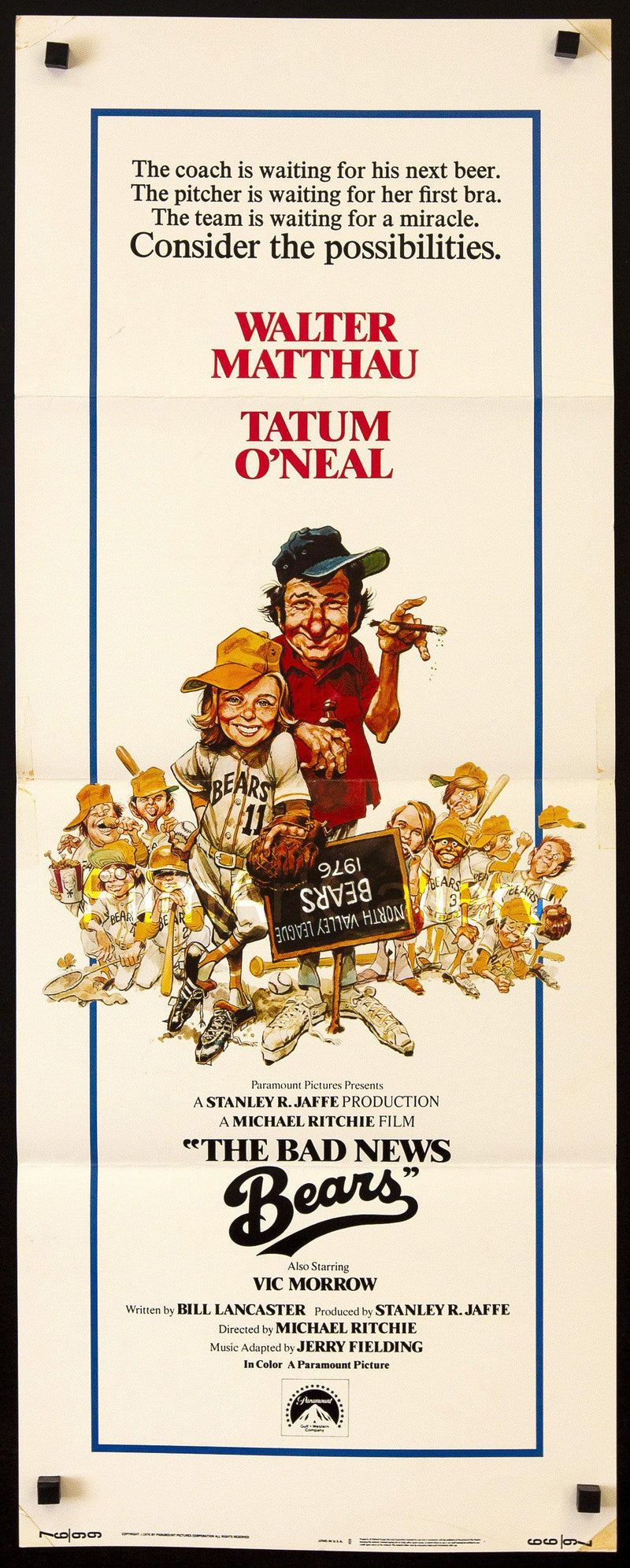 The Bad News Bears Insert (14x36) Original Vintage Movie Poster