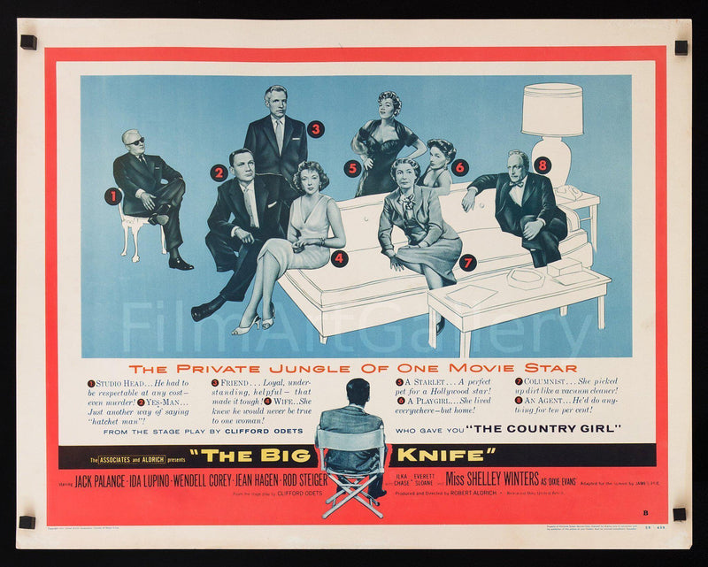 The Big Knife Half sheet (22x28) Original Vintage Movie Poster