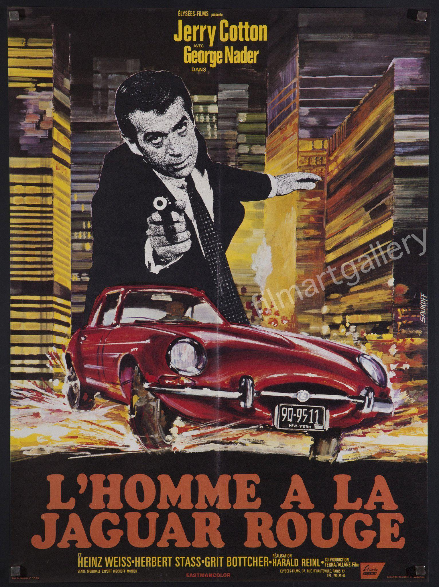 The Man in the Red Jaguar French small (23x32) Original Vintage Movie Poster