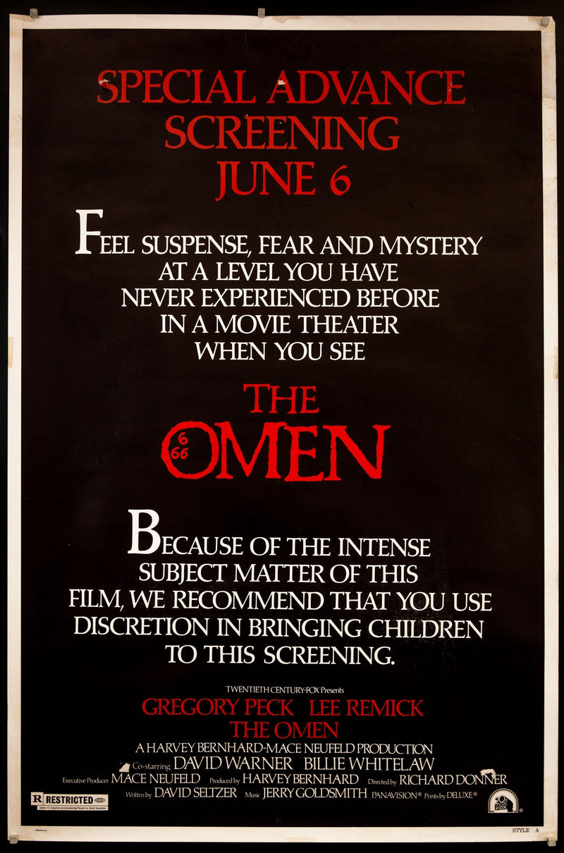 The Omen 40x60 Original Vintage Movie Poster