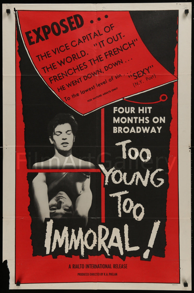 Too Young Too Immoral 1 Sheet (27x41) Original Vintage Movie Poster