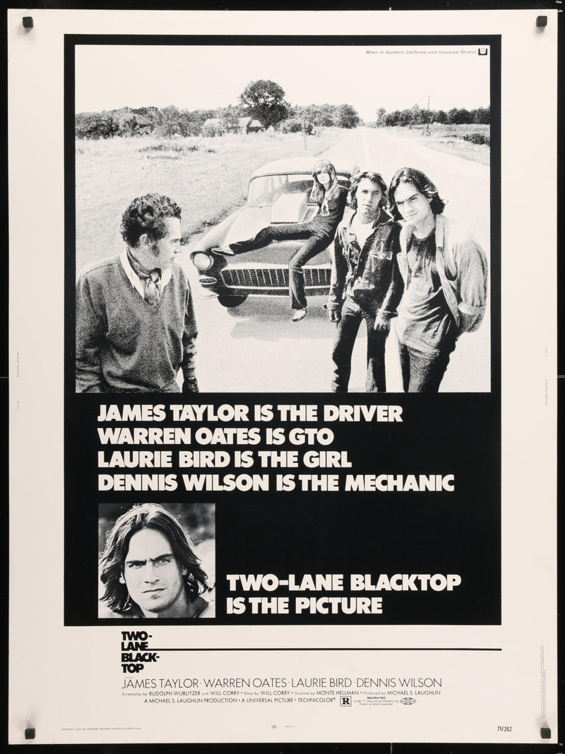 Two Lane Blacktop 30x40 Original Vintage Movie Poster
